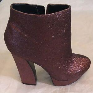Dolce Vita Copper Glitter High Ankle Boots Sz 8.5